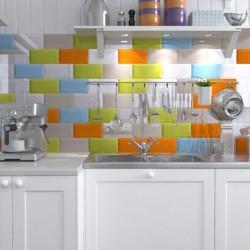 Azulejos De Colores Biselados Para Chapado de Cocina - Colores Biselados Brillos
