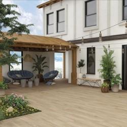 Azulejo imitacion madera exterior porcelanico - Ambiente Kirova haya