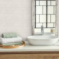 Azulejo Blanco Roto Decorativo Espiga para Baño Rectificado - Astun