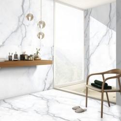 Pavimento Imitación Marmol Callacatta Blanco con Beta Gris - Duero Silk