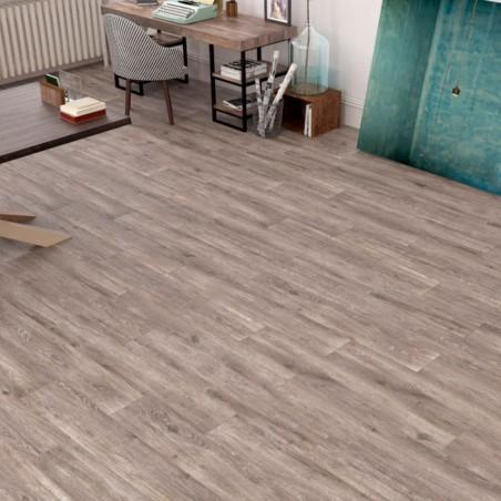 Ambiente suelo porcelanico tipo madera sufrido - Leca Caoba
