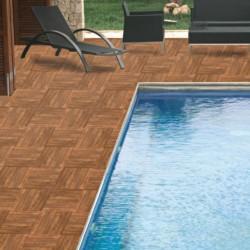 Ambiente suelo tipo madera porcelanico antideslizante para piscinas - Fusta nogal