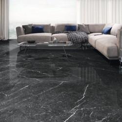 Ambiente suelo negro marmol brillo pulido porcelanico - Naxos Black
