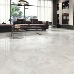 Ideas para decorar pisos con azulejos efecto marmol gris claro - Aral Pearl