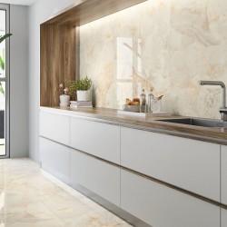 Ideas para decorar suelos porcelanicos con azulejos marmol beige crema pulido - Aral Cream