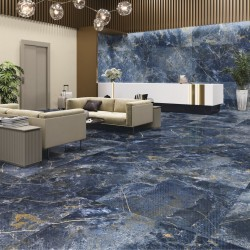 Ambiente como decorar suelos con azulejo tipo marmol azul - Icaro Blue